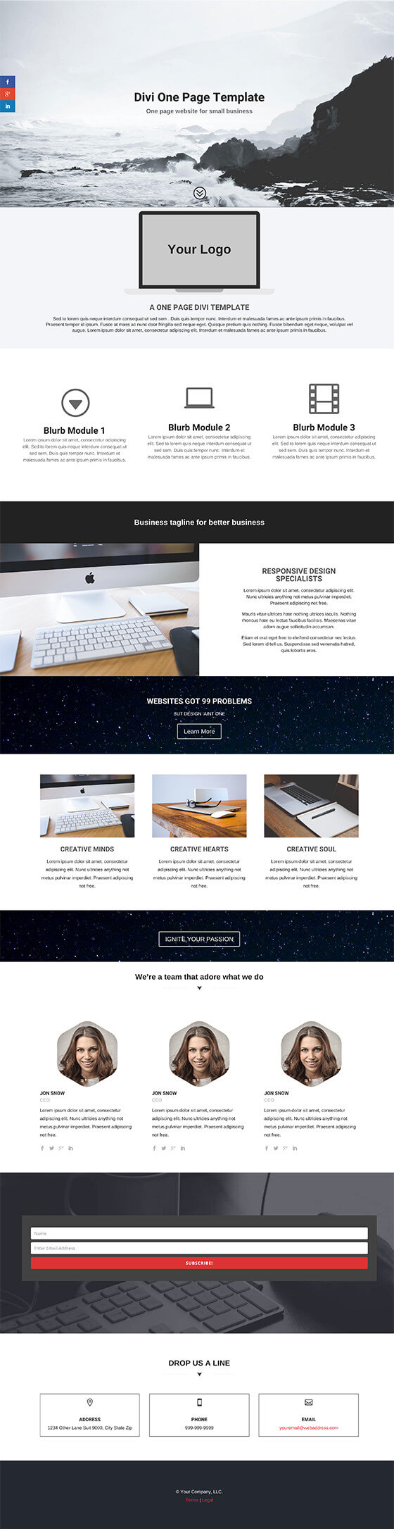 Divi one page business template dilan design full template preview cheaphphosting Image collections
